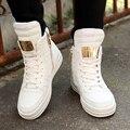 37-45 Plus Size High Top Hombre Calzado Casual 2016 Otoño Invierno Nueva Moda de Metal Decoración Zapatos de Lona Masculinos botines