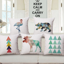 Nueva lino almohada cubierta geométrica elefante Deer grúa rojo-coronada fundas de almohada Nordico estilo inicio decorativo funda de almohada 45 x 45 cm