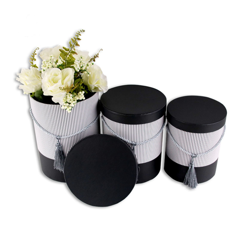 3 pièces un ensemble portable baril de fleurs boîtes de papier rondes avec couvercle faveurs de mariage chocolat seau cadeau emballage carton