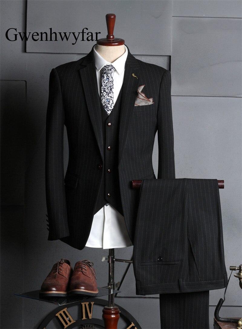Homme Mariage Qualité Noir Pièce Veste 2018 Costume Gwenhwyfar Hommes Bande Haute Smoking 3 Pour Pantalon Black grey Gilet Marié Stn4qx1
