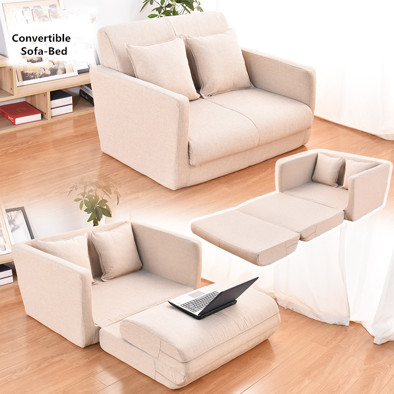 Convertible Couch Loveseat Sleeper Sofa Bed Modern Contemporary Fabric Upholstered Living Room Bedroom Furniture Couch Chaise image