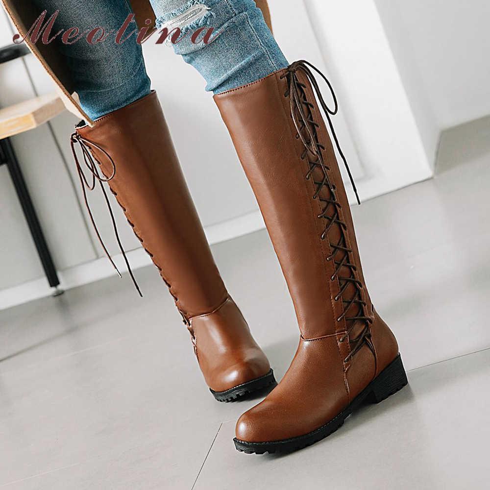 Meotina Mùa Đông 2018 Giày Nữ Phối Ren Med Gót Giày Đầu Gối Cao Giày Mũi Tròn Nữ Thời Trang Mùa Thu Giày Màu Be nâu