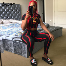 Multi Stripe 2 TWO PIECE SET Joggers Leggings Women Crop Top Hoodie Sporting Suit Female Tracksuit Sweat Pants Ensemble Femme(China)