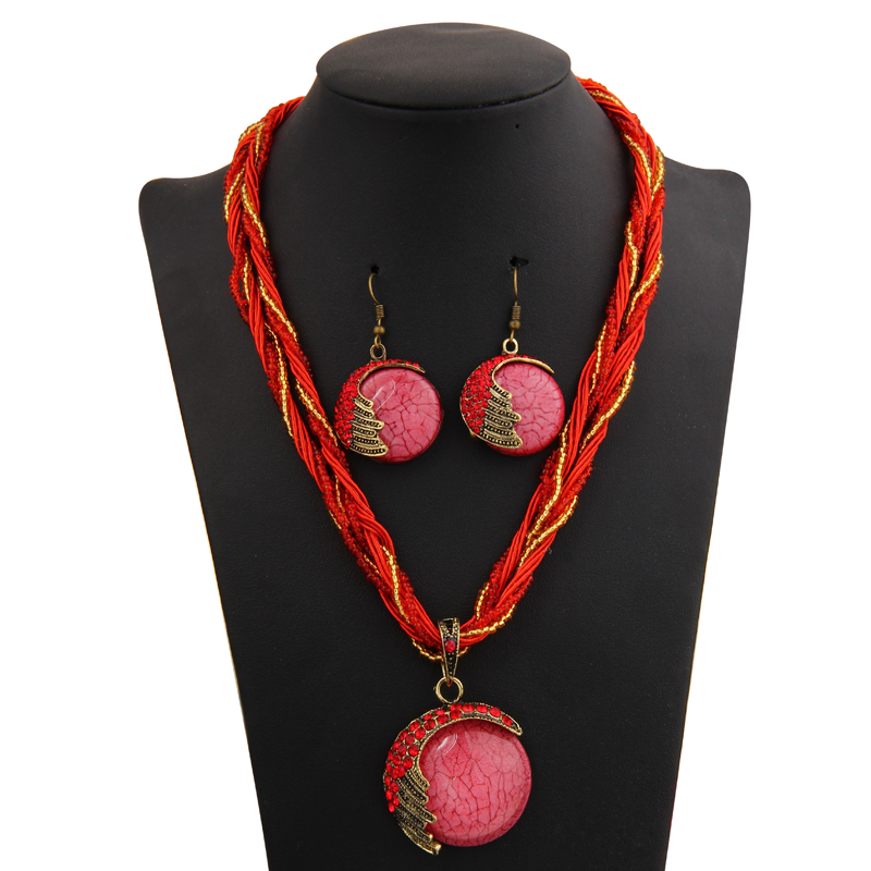 Hesiod Bohemian Natural Stone Pendants& Necklaces Blue Crystal Drop Earrings Round Multi-layer Chain Braided Wedding Jewelry Set