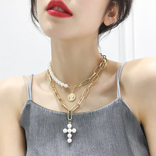 Europe and the United States exaggerated big necklace cross pearl multi-layer clavicle chain fashion metal neck with the female new exaggerated ccb thick chain in europe and the popular hip hop big jewelry dj stage long clavicle necklace