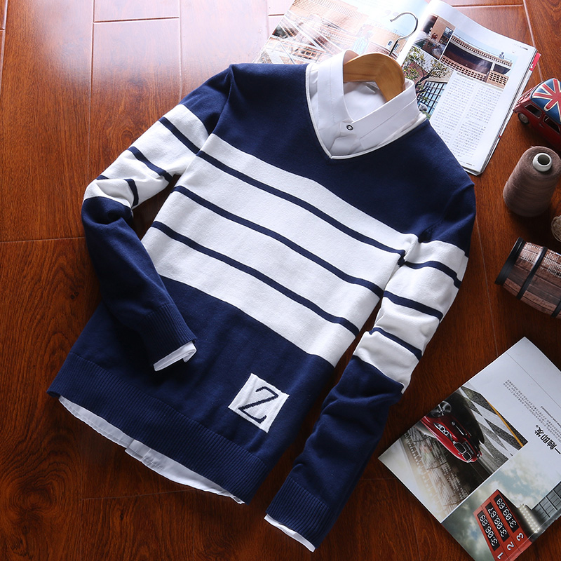 2019 Mens Pullovers Sweaters 100% Cotton V-Neck Long Sleeve For Masculino  Casual Clothes Formal Autumn M-New Arrival  Sweaters