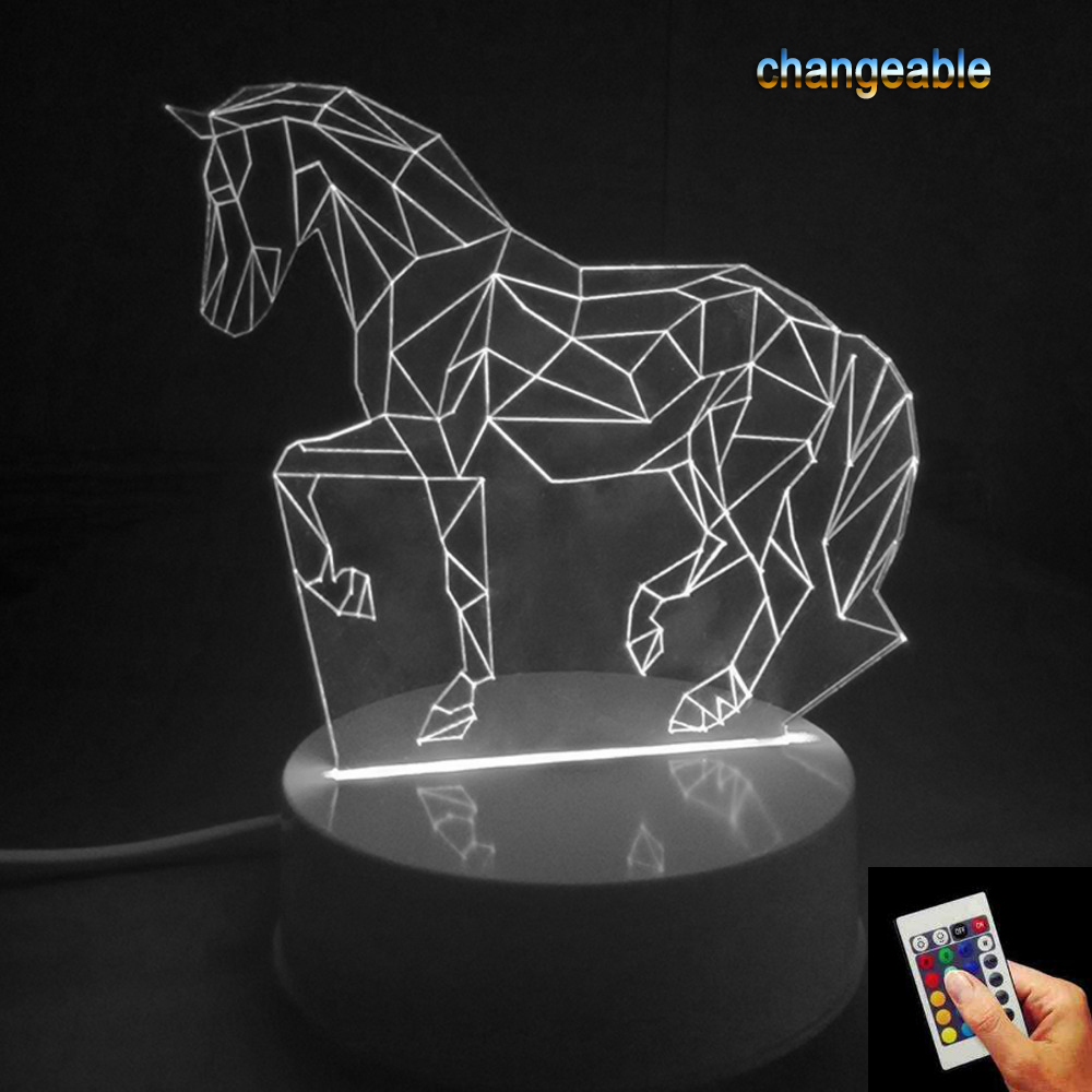 Gifts 7 Colors Changing Animal Luces Navidad Horse Led Night Lights 3D LED Desk Table Lamp Bedside Lamps as Home Decoration p20