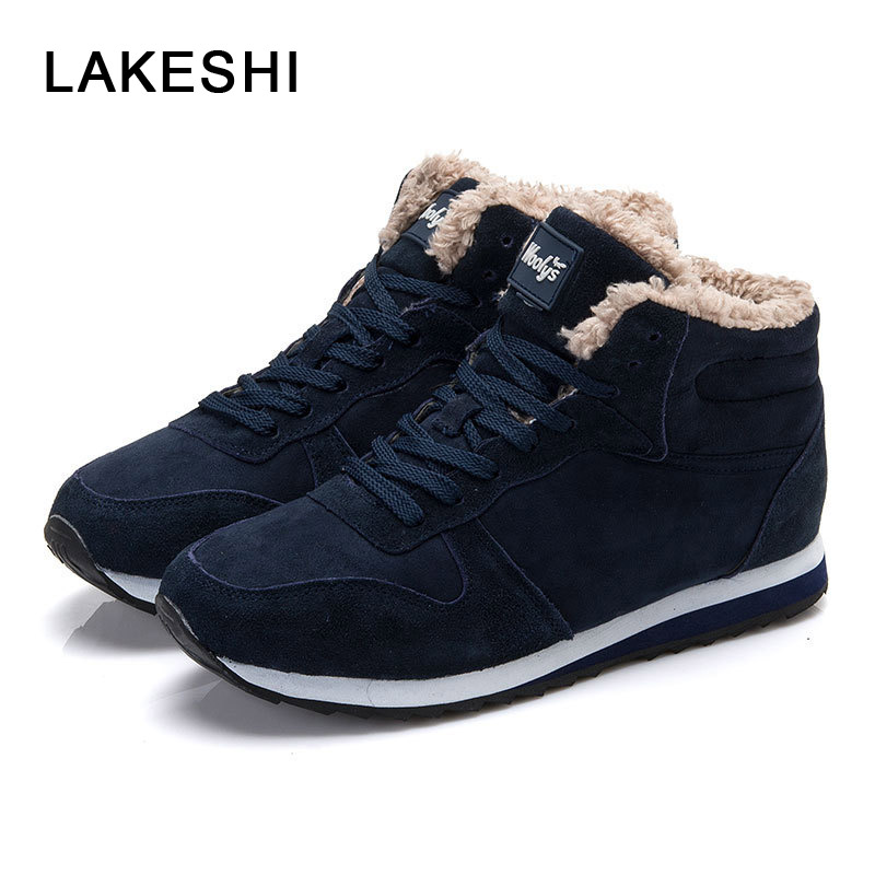 LAKESHI Warm Fur Winter Boots Male Snow Boots Fashion Men Boots Round Toe Ankle Boots Men Work Shoes Lace Up Casual Men Sneakers
