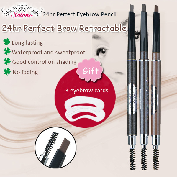 Solone 24hr Perfect Brow Retractable Waterproof Eyebrow pencil with Brush - Taiwan imported