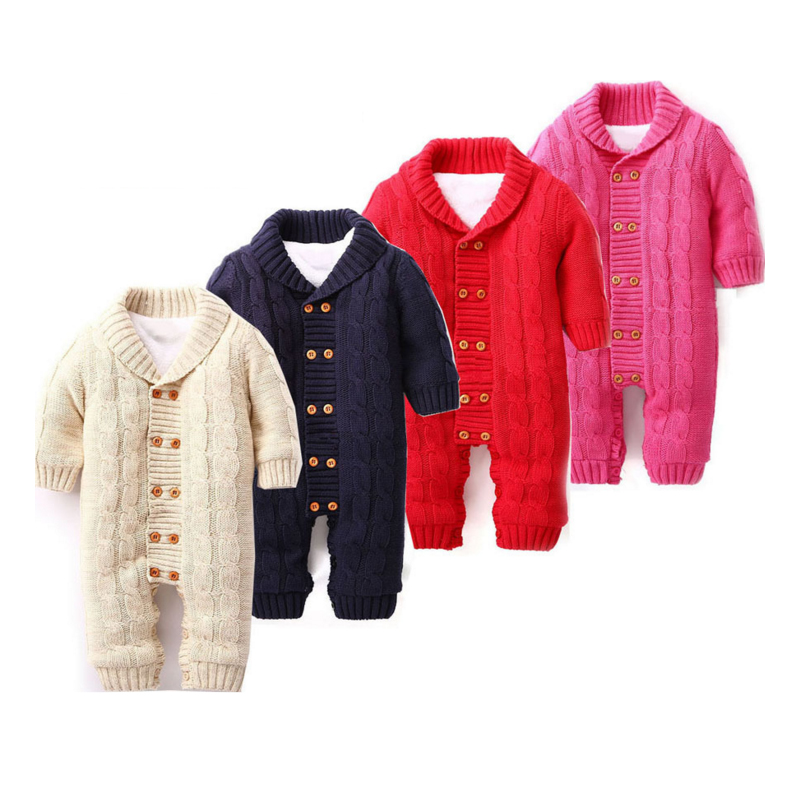 Baby Knitted Romper 0-18 Months Thick Cotton Turn-down Collar Double Breasted Autumn Winter Infant Boy Girl Baby Clothing lavensey original new children thick cotton turn down collar fashion coats for girl baby clothing free shipping