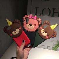 Lovely Cute Cartoon Bear Monky Pig Soft Silicone 3D Mobile Phone Cases For IPhoneX 8 8Plus