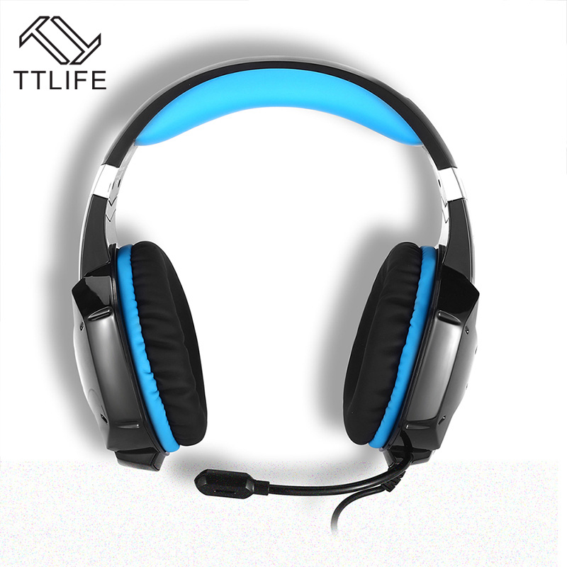 TTLIFE Sound Control Game Headphones HiFi Stereo Bass Headset Gaming Noise Cancelling Earphone with HD Mic for Laptop PC Phones each g8200 gaming headphone 7 1 surround usb vibration game headset headband earphone with mic led light for fone pc gamer ps4