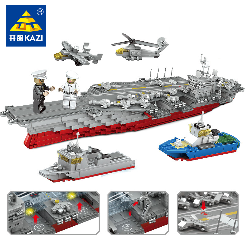 KAZI 80cm Big Model Military Carrier Warships Carriers building blocks sets Gift ship Construction Brick Educational Hobbies Toy building blocks military boat carrier model construction assembled transformation toy children gift intelligence develop toy