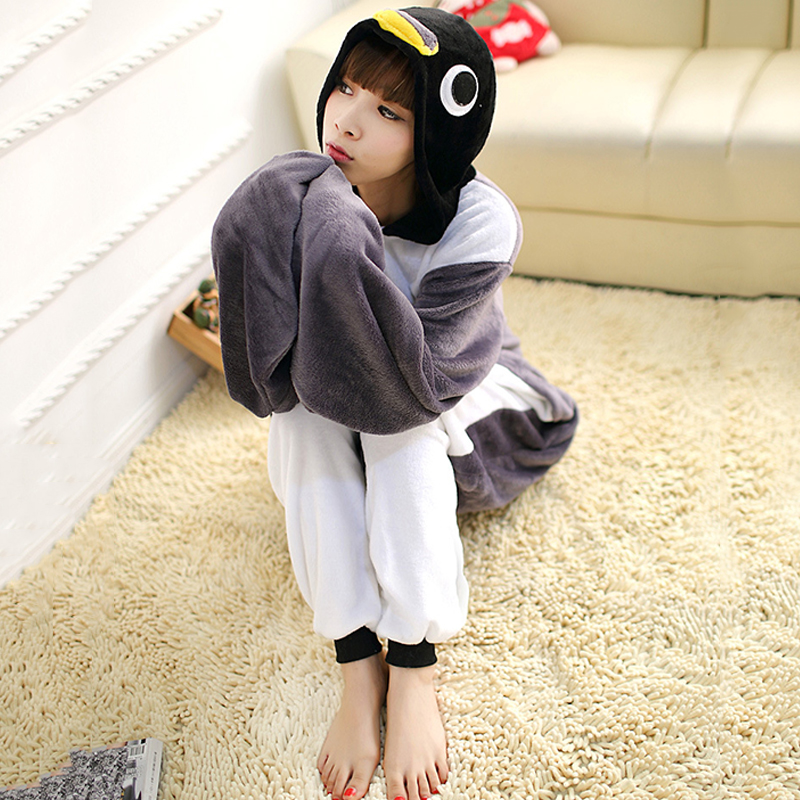 Adult Anime Grey Penguin Kigurumi Onesie Cute Costume For Women Men Funny  Warm Soft Animal Onepieces Sleepwear Home Cloths Girl