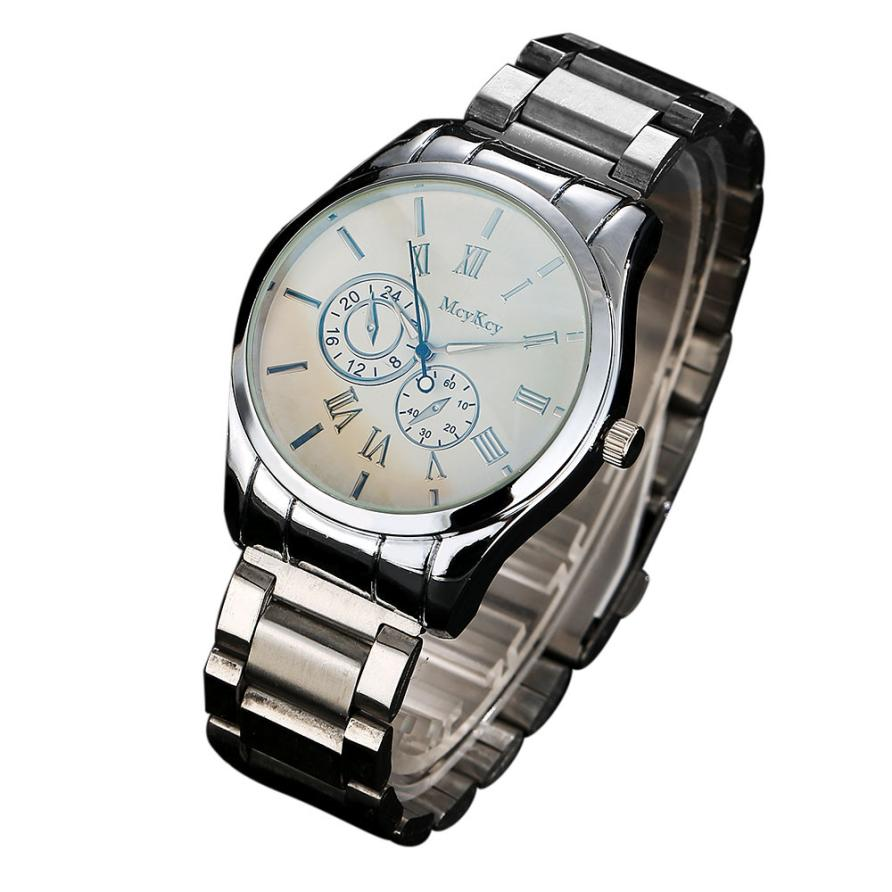 Male Watch Quartz Wrist Watch Relojes hombre 2017 McyKcy Classic Design Fashion Men Simple Stainless Steel Analog *612 new vogue fashion v6 3d surface case black male analog quartz watch military men business casual wrist watch relojes hombre gift