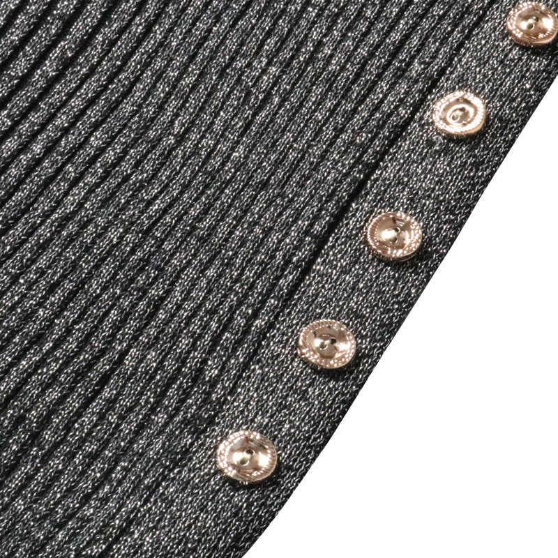 Áo len ĐẦM THU ĐÔNG Chia Nút Dệt Kim Trung Bình Dài Ôm Hông Đảng Gợi Cảm Bodycon Nhân Quả ĐẦM VINTAGE Đầm Vestido Đơn Giản