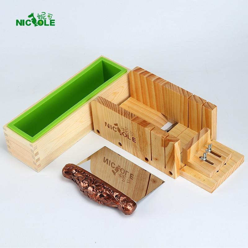 Nicole σιλικόνης Σαπούνι Μούχλα Σετ Ξύλινα κουτί εργαλεία Cutter με λεπίδα από ανοξείδωτο χάλυβα για DIY χειροποίητα σαπούνια Κάνοντας εργαλείο Μούχλα