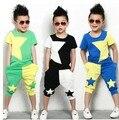 2017NEW roupa das crianças set estrelas meninos definir conjuntos de bebê camisa curto t + calças 2 pcs set roupa dos miúdos terno 2-7Years