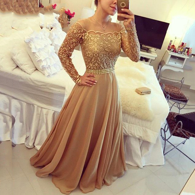 New Design Lace Evening Party Gowns Golden Off Shoulder Long Sleeves ...