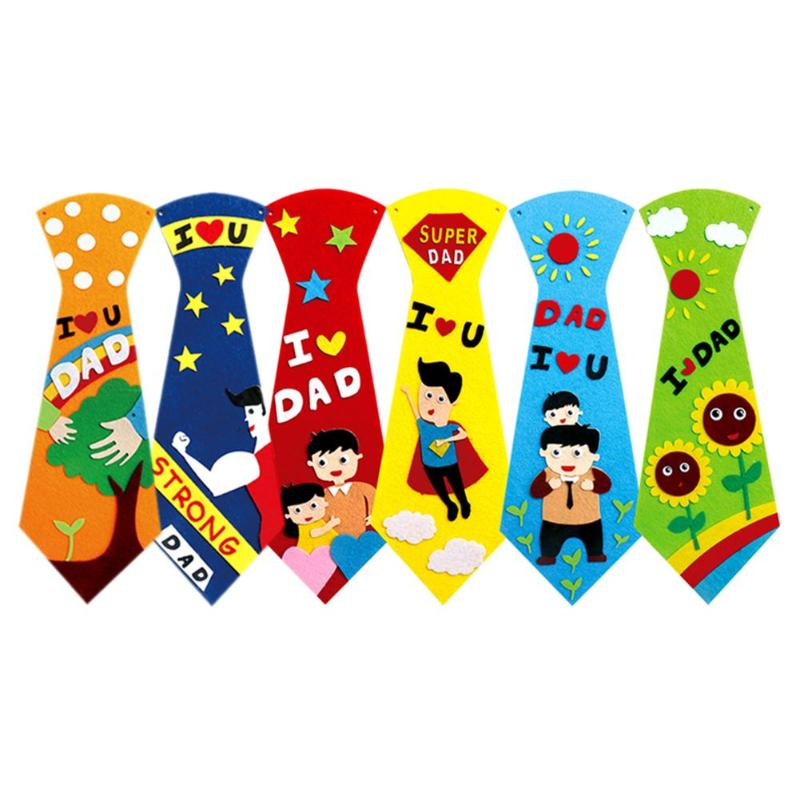 Kids DIY Ties Crafts Kindergarten Children Handmade Tie Educational Toys Fathers Day Gift Child Non Woven Clothing Material Set