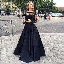 Sexy Fashion Black Lace 2 Stücke Abendkleider Langen Ärmeln Abendkleider 2016 O-ansatz Taft Kleid Partei Um