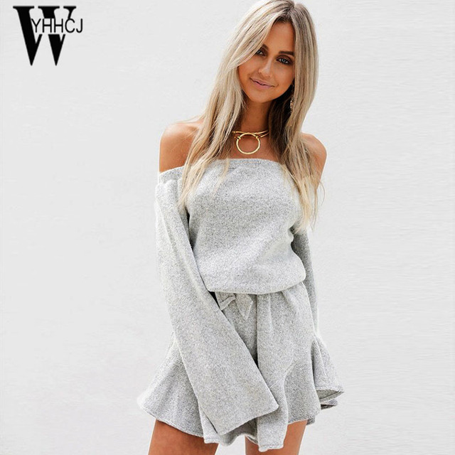 WYHHCJ 2017 sexy off shoulder Autumn and winter dress warm thicken long sleeve women dresses sashes mini sweater dress femme