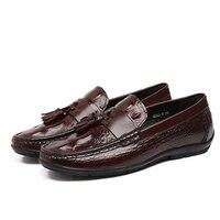 EU38 44 2015 New Black Blue Color Men S Loafer Shoes Genuine Leather Tassel Round Toe