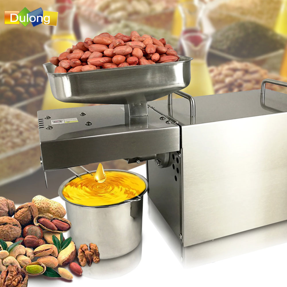 Stainless steel Automatic Small Seed oil extractor machine, Cold oil pressed expeller, Peanut oil press machine for home brand new cold oil press machine coconut peanut automatic small home seed nut presser extractor expeller high oil extraction