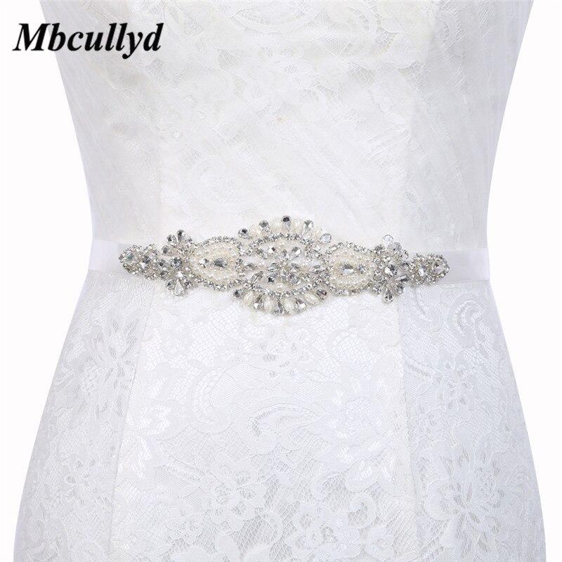 Crystal Satin Wedding Belts 2019 Elegant Pearls Bridal Belt Bride Ribbon Sash Belt with Stones for Dress Accessories Hot Sale