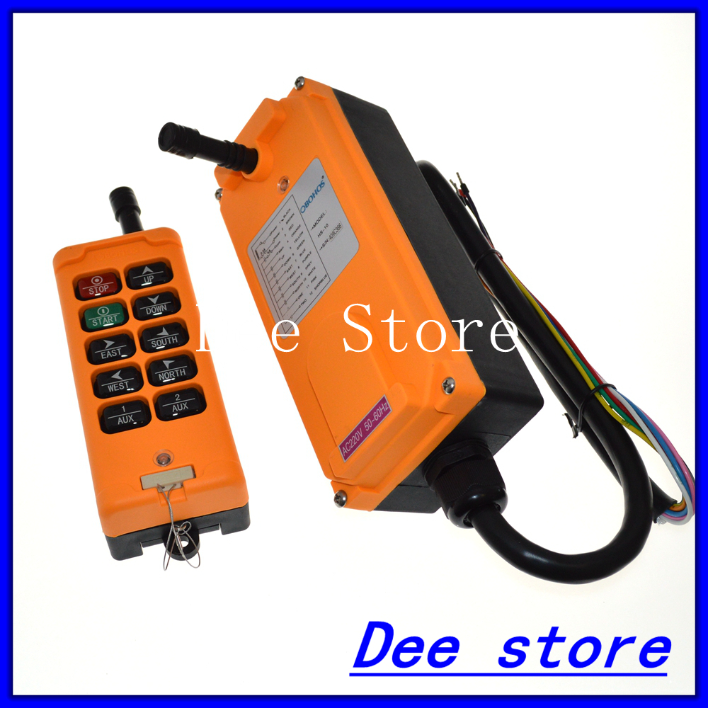 Free Shipping 10 Channels One Speed Truck Hoist Crane Winch Radio Remote Control Push Button Switch System Controller 2 speed 2 transmitters 10 channels hoist crane industrial truck radio remote control push button switch system controller