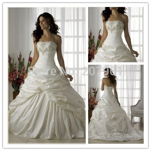 A-line White Wedding Dresses 2016 Sweetheart Taffeta with Embroidered Vestidos de Noiva Wedding gowns Court train 01