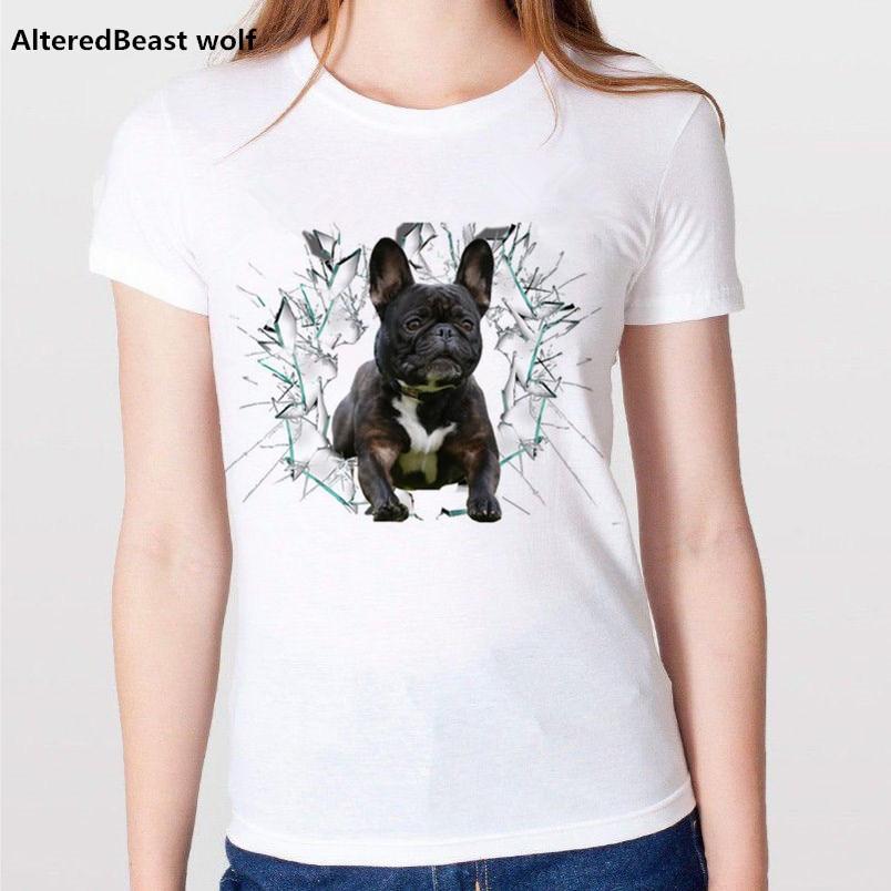 2018 Summer Funny French Bulldog Print Women tshirt Casual Women tops  Female White Camisetas T Shirt Women Hipster Tee Shirts