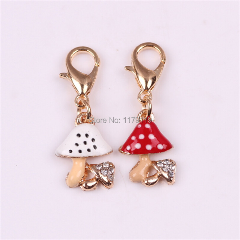 New Arrival Colorized Mushroom Floating Locket Dangle With Rhinestone For Memory Lockets Necklace Pendant