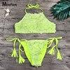 MEIERSES 2018 Omen S 3D Yellow Flower Halter 2 Pcs Bikini Set Sexy String Tied Side