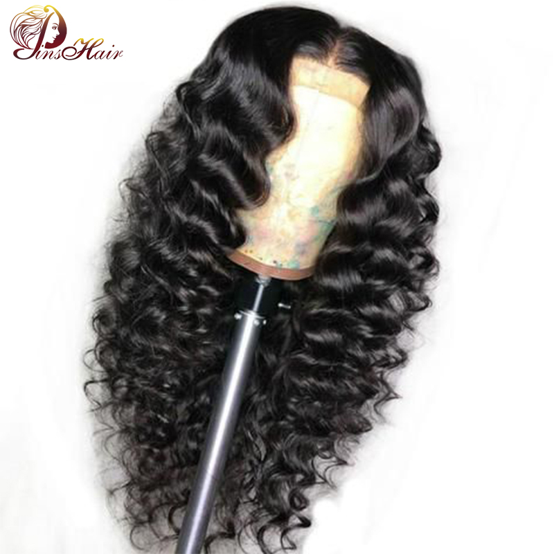 Pinshair Lace Front Human Hair Wigs Peruvian Loose Deep Wave Wig Pre Plucked 13x4 Lace Wigs With Baby Hair Natural Color Nonremy