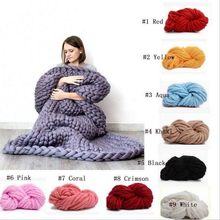 Hand Chunky Knitted Blanket Large Soft Warm Winter Bed Sofa Plane Cobertor Blanket Thick Yarn Merino Wool Bulky Knitting Blanket(China)