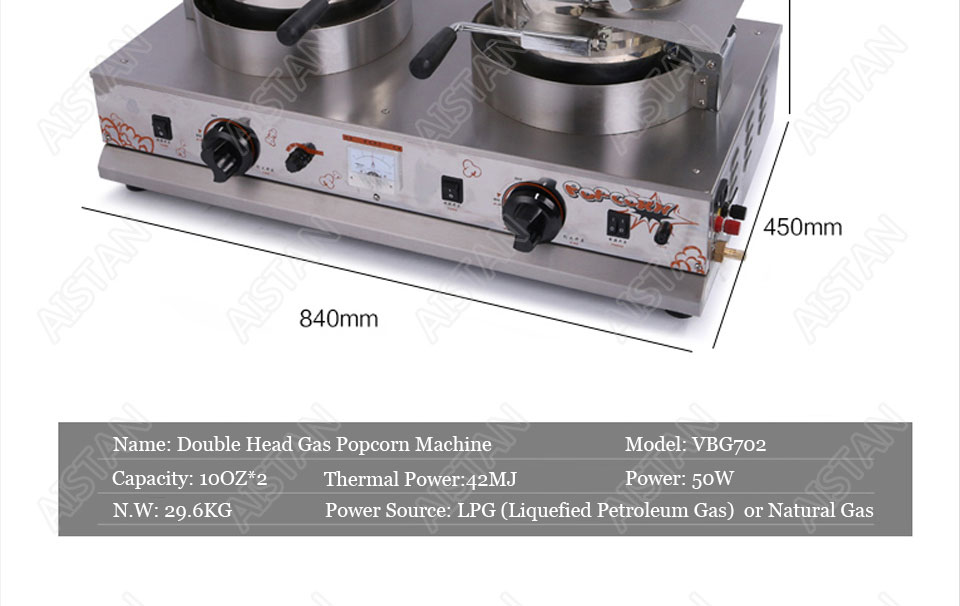 VBG701/VBG702 commercial stainless steel single head/double head gas popcorn machine for kitchen equipment 6