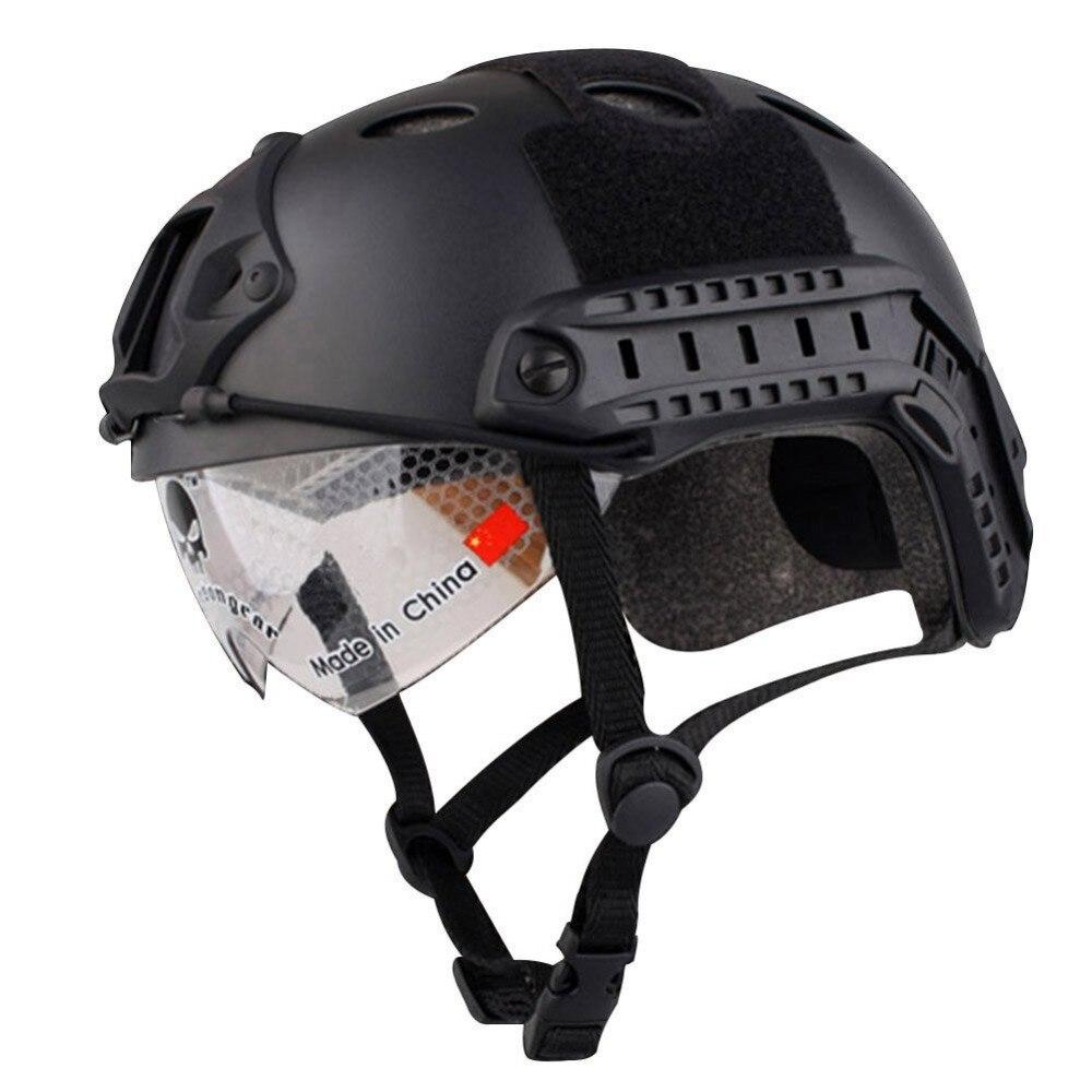 Airsoft Swat Helmet Combat Fast Helmet with Protective Goggles Black Tan 2015 new kryptek typhon pilot fast helmet airsoft mh adjustable abs helmet ph0601 typhon