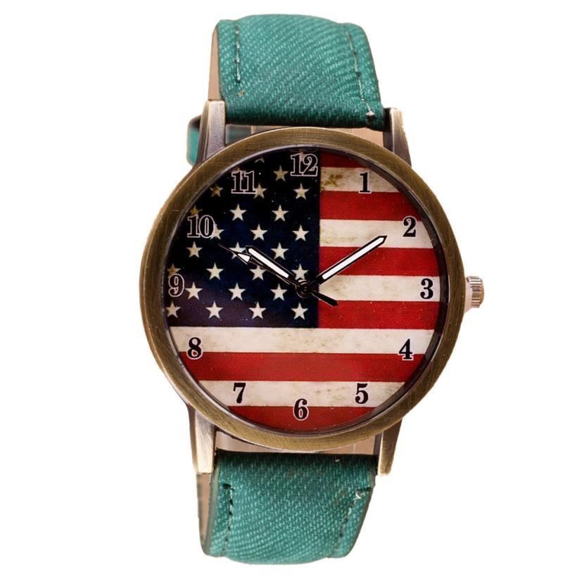 Women Quartz Wristwatch American Flag Pattern Men PU Leather Band Wrist Watch Fashion Printed Analog Vogue Watch Wholesale 3#