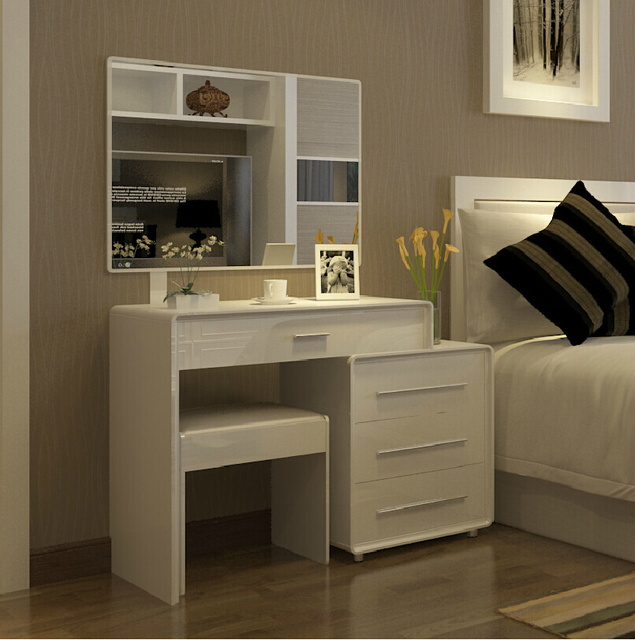 Scalable About Modern Minimalist White Dressing Table Mirror Swap Paint Vanity Tables With Drawers Bedroom Furniture