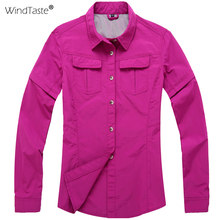 6205c93992c7 WindTaste Women Removable Sleeve Quick Drying Shirts Sports Clothes Outdoor  Hiking Fishing Female Breathable Casual Shirts