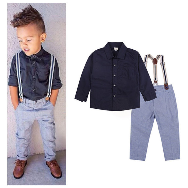 4fbb45968c98 Baby Boys Formal Suits Boy Gentleman Clothes Set Kids Long Sleeve Shirt+Suspender  Trousers Children