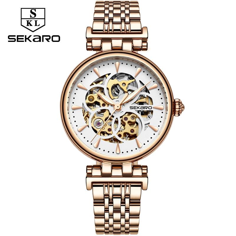 New Hot Brand Sekaro Automatic Mechanical Wrist Watch Simple Style Women Watches Fashion Skeleton Designer Ladies Dress Watch