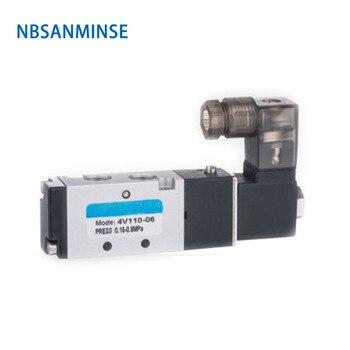 цена на 4V110 M5 1/8 1/4 3/8 1/2 Solenoid Valve Electromagnetic Valve Air Control Pneumatic Valve NBSANMINSE