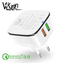 Зарядное устройство с двумя разъемами USB 3,0, штепсельная вилка стандарта США, быстрая зарядка 30 Вт для iPhone Samsung Xiaomi Huawei LG G6 QC3.0 2, USB зарядное устройство