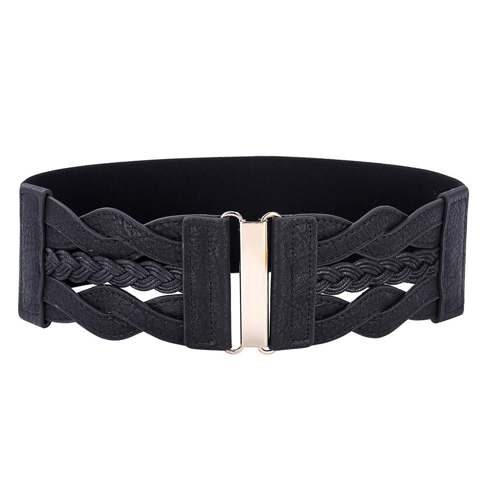 Venta caliente de las señoras Niñas moda cinturón ancho trenzado cuero de poliuretano elástico cintura elástico ceinture cinto