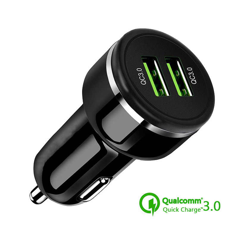 Mobil USB Charger Pengisian Cepat 3.0 Mobile Phone Charger Dual USB Cepat QC 3.0 Charger Mobil untuk Iphone Samsung Xiaomi charger Tablet