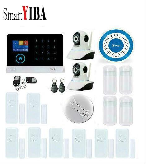 SmartYIBA GSM SIM Home Security font b Alarm b font System Network IP Camera WIFI Wireless