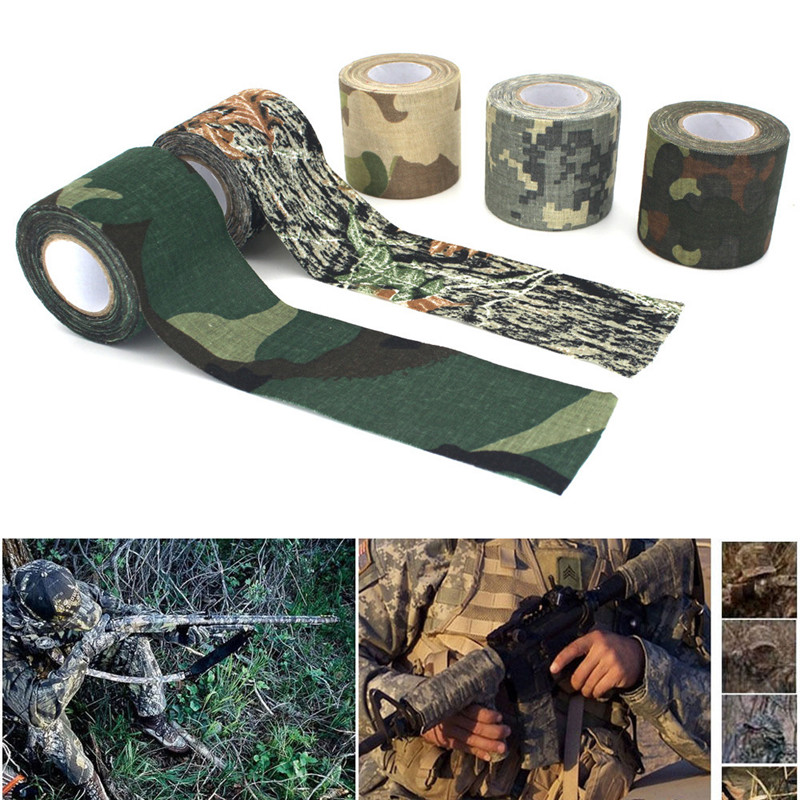 цена на 4.5*500cm Plastic Retractable Non-woven Outdoor Camouflage Hunting Cycling Stickers Tape Army Camo Wrap Sniper Rifle Hide Tape