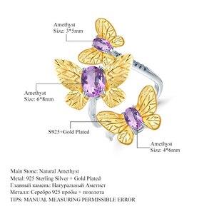 Image 5 - GEMS バレエ 925 スターリングシルバー手作り宝石リングファインジュエリー 2.04Ct 天然アメジスト調節可能な女性